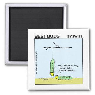 Cute Funny Caterpillar Love & Romance Cartoon Square Magnet