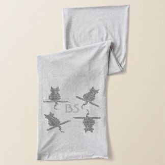Cute Funny Cats Add Initials Scarf