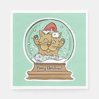 Cute Funny Christmas Cat paper napkins