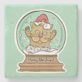 Cute Funny Christmas Cat stone coasters