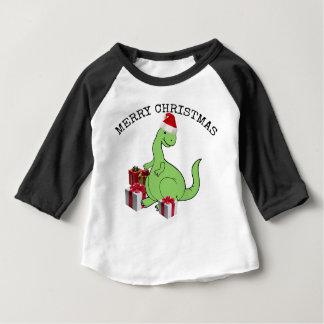 Cute funny  Christmas Santa dinosaur Baby T-Shirt