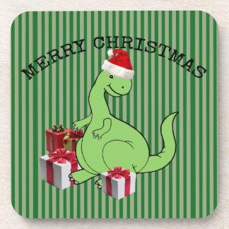 Cute funny  Christmas Santa dinosaur Coaster