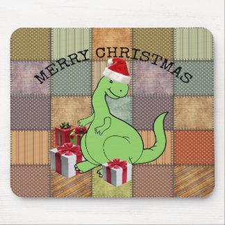 Cute funny  Christmas Santa dinosaur Mouse Pad