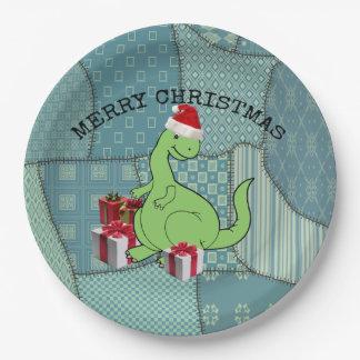 Cute funny  Christmas Santa dinosaur Paper Plate