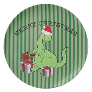 Cute funny  Christmas Santa dinosaur Plate