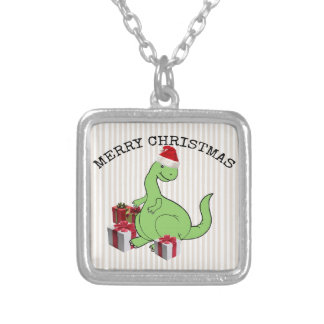 Cute funny  Christmas Santa dinosaur Silver Plated Necklace