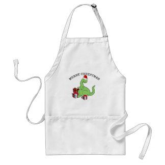 Cute funny  Christmas Santa dinosaur Standard Apron