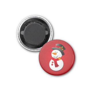 Cute & Funny Christmas Snowman 1 Inch Round Magnet