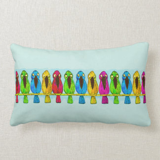Cute Funny Colorful Birds Together Side by Side Lumbar Pillow