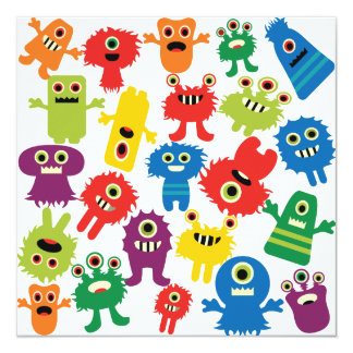 "Cute Funny Colorful Monsters Pattern 5.25"" Square Invitation Card"