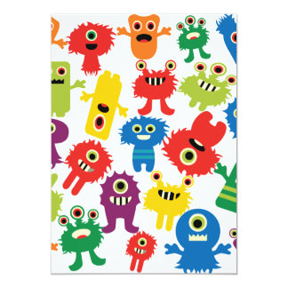 """Cute Funny Colorful Monsters Pattern 5"""" X 7"""" Invitation Card"""