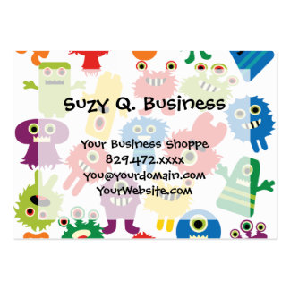 Cute Funny Colorful Monsters Pattern Business Card Template