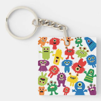 Cute Funny Colorful Monsters Pattern Double-Sided Square Acrylic Keychain