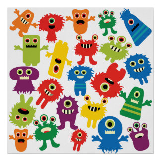 Cute Funny Colorful Monsters Pattern Poster
