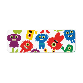 Cute Funny Colorful Monsters Pattern Return Address Label