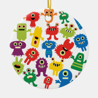 Cute Funny Colorful Monsters Pattern Round Ceramic Ornament