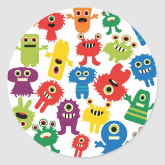 Cute Funny Colorful Monsters Pattern Round Sticker
