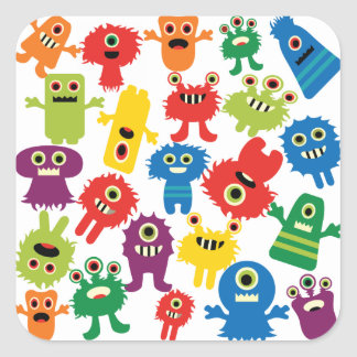 Cute Funny Colorful Monsters Pattern Square Sticker