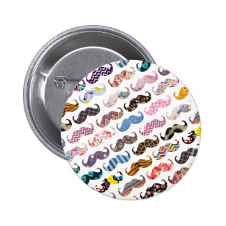 Cute Funny Colorful  Mustaches Pattern 2 Inch Round Button