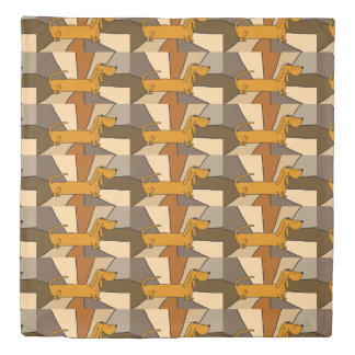 Cute Funny Dachshund Dog Abstract Duvet Cover