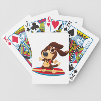 Cute funny dog on a surfboard illustration bicycle playing cards