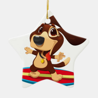 Cute funny dog on a surfboard illustration ceramic ornament