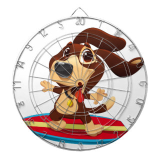 Cute funny dog on a surfboard illustration dartboard