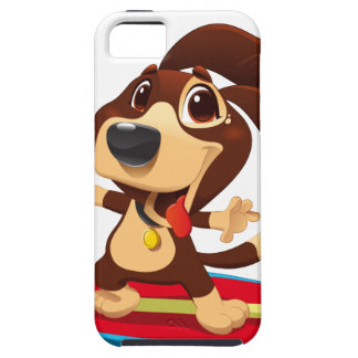 Cute funny dog on a surfboard illustration iPhone 5 case