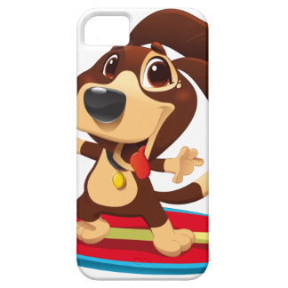 Cute funny dog on a surfboard illustration iPhone 5 covers