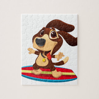Cute funny dog on a surfboard illustration jigsaw puzzle