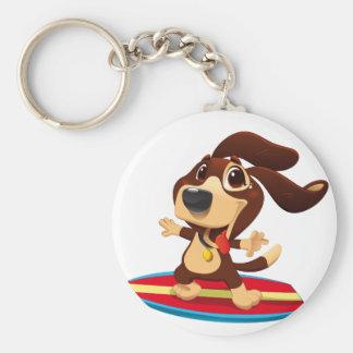 Cute funny dog on a surfboard illustration keychain