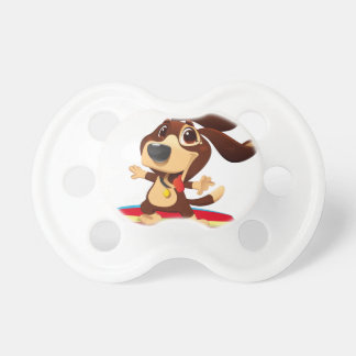 Cute funny dog on a surfboard illustration pacifier