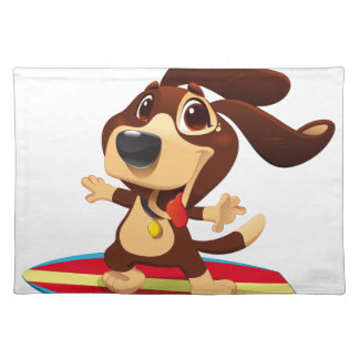 Cute funny dog on a surfboard illustration placemat