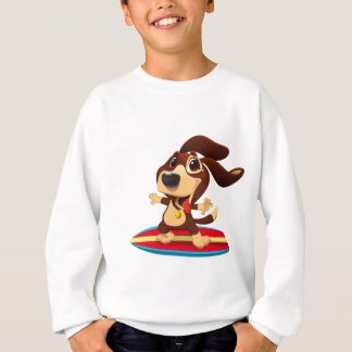 Cute funny dog on a surfboard illustration sweatshirt