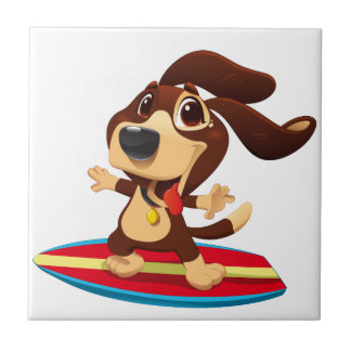Cute funny dog on a surfboard illustration tile