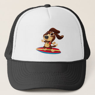 Cute funny dog on a surfboard illustration trucker hat