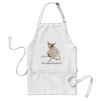 Cute funny dog scratching art with humorous slogan standard apron