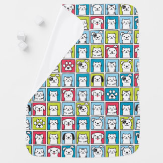 Cute, funny dogs & cats pattern baby blanket
