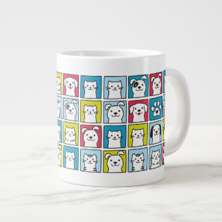 Cute, funny dogs & cats pattern large coffee mug