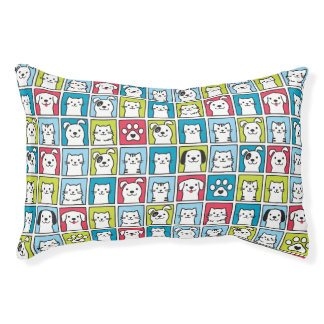 Cute, funny dogs & cats pattern pet bed