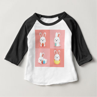 Cute funny Easter bunnies on pink Baby T-Shirt