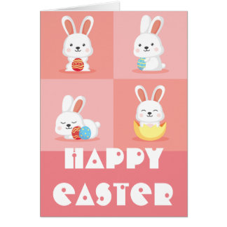 Cute funny Easter bunnies on pink Card
