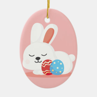 Cute funny Easter bunnies on pink Ceramic Oval Ornament