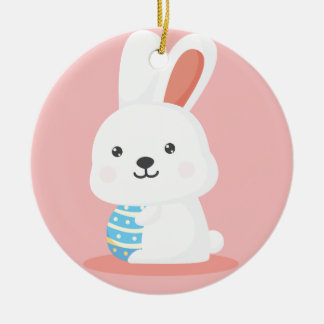Cute funny Easter bunnies on pink Round Ceramic Ornament