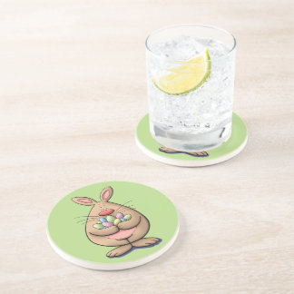 cute & funny easter bunny holding eggs cartoon beverage coasters