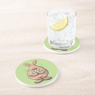 cute & funny easter bunny holding eggs cartoon coaster
