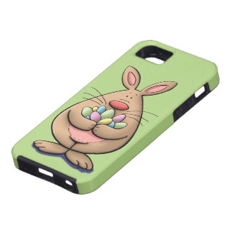 cute & funny easter bunny holding eggs cartoon iPhone 5 case