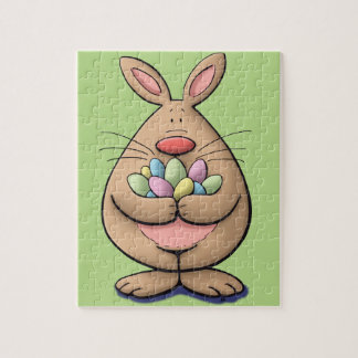 cute & funny easter bunny holding eggs cartoon jigsaw puzzle