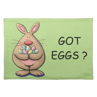cute & funny easter bunny holding eggs cartoon placemat