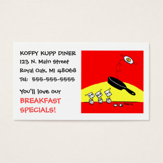 Cute Funny Eggs Cartoon Breakfast Diner Restaurant Business Card